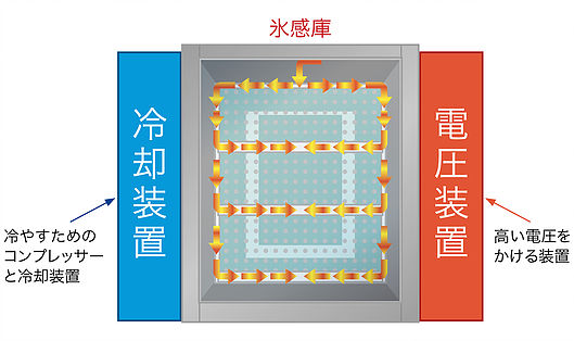 食材に電圧が伝わりやすい氷感庫